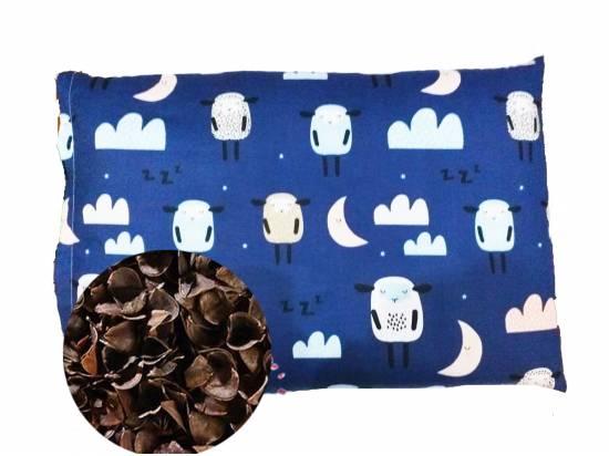 poduszka dziecięca z łuską gryki owieczki granat