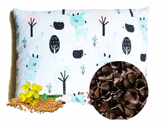 poduszka dla dziecka z łuską gryki i gorczycą