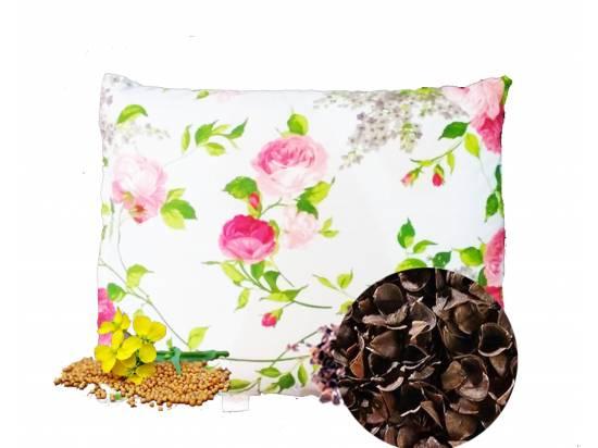 poduszka z łuską gryki i gorczycą poszewka kwiaty