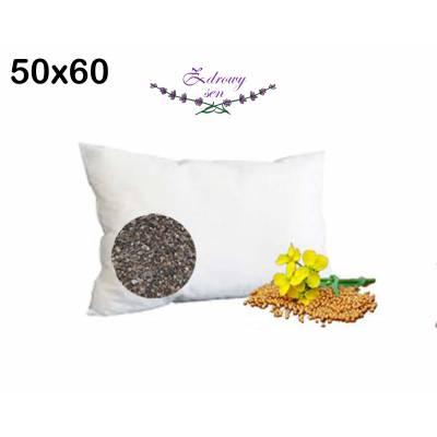 poduszka wsypa z łuską gryki i gorczycą naturalna 50x60