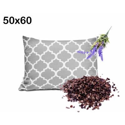 poduszka z łuską gryki i lawendą uspokajające wyciszające właściwości 50x60