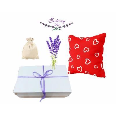 zestaw prezentowy prezent na walentynki poduszkła z łuska gryki lawendą aromaterapii zdrowy sen